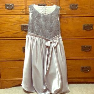 Girls 7/8 silver/charcoal formal dress